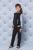 Детский красивый трикотажный спортивный костюм кофта-бомбер цвет черный  рост - 122, 128, 134, 140, 146, 152