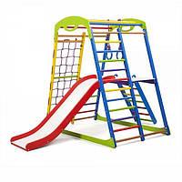 Детский спортивный комплекс для дома SportWood Plus 2 (горка, кольца, рукоход, столик) ТМ SportBaby Разноцветный