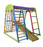 Детский спортивный комплекс для дома «Юнга мини» (горка, кольца, рукоход, сетка) ТМ SportBaby Разноцветный