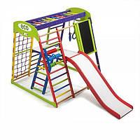 Детский спортивный комплекс для дома «ЮнгаPlus 3» (мольберт, столик, счеты, рукоход, сетка) ТМ SportBaby Разноцветный