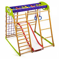 Детский спортивный комплекс для квартиры Карамелька Plus 1 (горка, кольца, рукоход, сетка) ТМ SportBaby Разноцветный