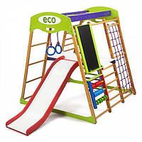Детский спортивный комплекс для квартиры Карамелька Plus 3 (горка, кольца, мольберт, сетка) ТМ SportBaby Разноцветный