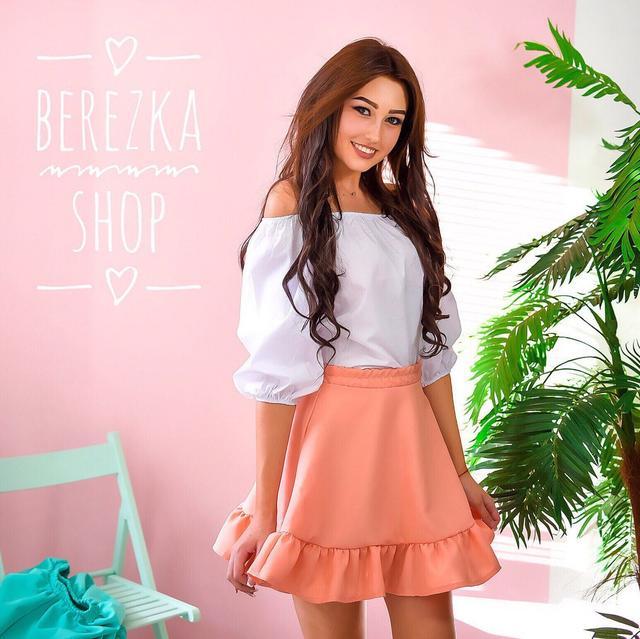 0bd55dfc1da Костюм женский модный блузка и пышная юбка мини разные цвета 6Kb503 ...