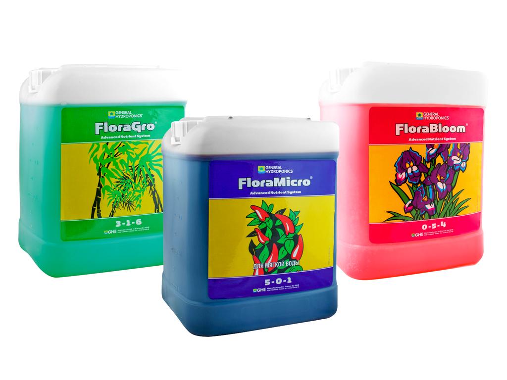 Комплект Flora Series HW 5L. Оригинал. Минеральное удобрение для гидропоники. Франция