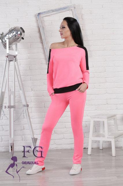 Костюм спортивный неон розовый и черный