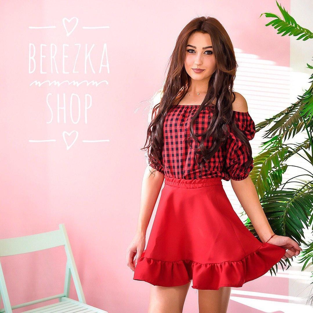 988be51d643 Костюм женский модный блузка в клетку и пышная юбка мини разные цвета 6Kb504