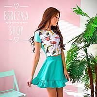 Костюм женский модный топ с ярким рисунком и пышная юбка мини разные расцветки 6Kb505