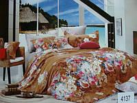 Сатиновое постельное белье евро ELWAY 4137
