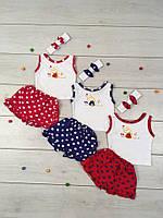 Комплект летний для девочки Доченька, майка, шорты, повязка, р.р.24-28, фото 1
