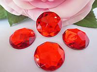 Камень клеевой круглой формы, d 20 мм, цвет красный, 1 шт