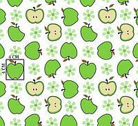 Хлопковая ткань с зелеными яблоками и цветочками