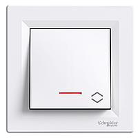Проходной выключатель с подсветкой Schneider Asfora белый