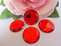 Камень клеевой круглой формы, d 25 мм, цвет красный