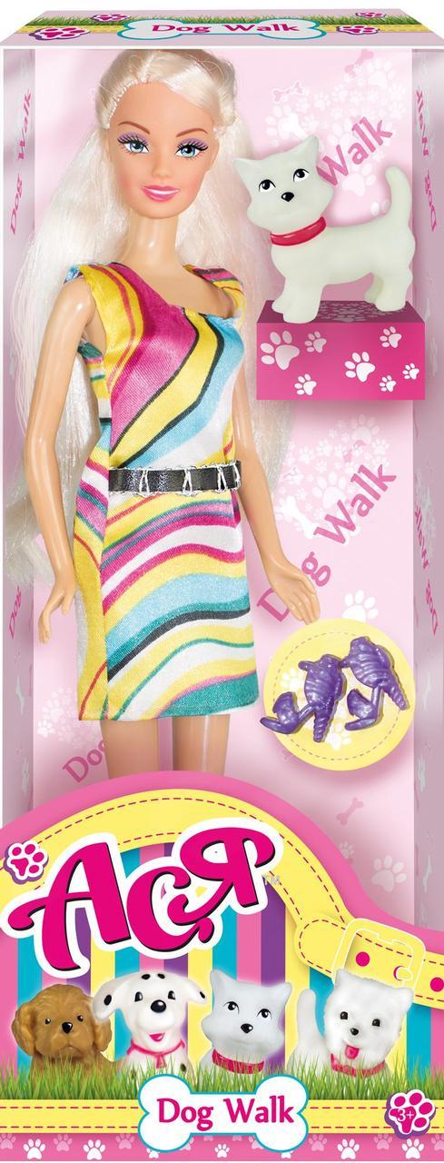 Кукла Ася 'Прогулка с собачкой'; 28 см; блондинка; вариант 1