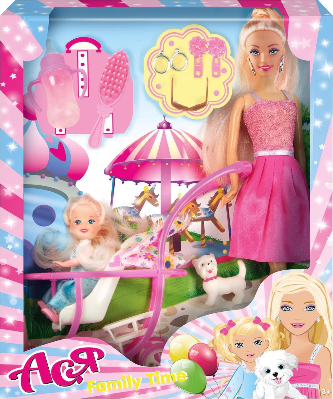 Набор с куклой Асей  'Семейный досуг'; 28 см; блондинка; и маленькой куклой 11 см в коляске