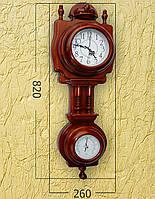 Деревянные часы с барометром (82х26 см) [Дерево]