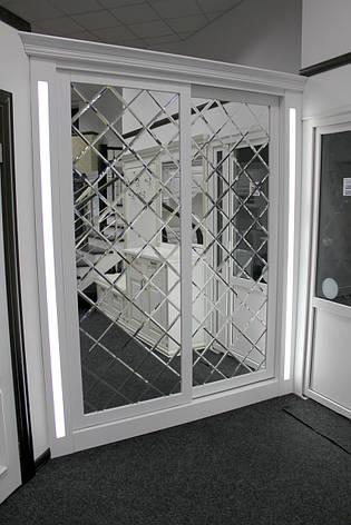 Шкаф-купе с декоративным зеркалом и фацетом, фото 2
