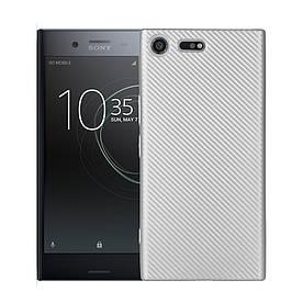 Чехол накладка для Sony Xperia XZ Premium G8142 силиконовый, Carbon Fiber, серебристый