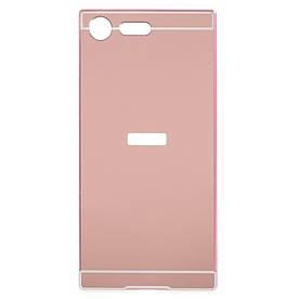 Чехол бампер для Sony Xperia XZ Premium G8142 металлический со съемной зеркальной крышкой, золотисто-розовый