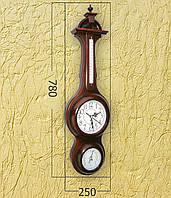 Деревянные часы с барометром и термометром (78х25 см) [Дерево]