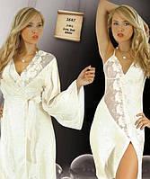 Комплект женский атласный халат и сорочка  Jasmin белый,размер S, фото 1