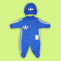 Комбинезон  и шапочка адидас для малыша  синий 100% хлопок