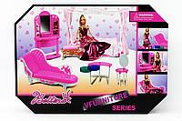 Мебель 66858 1522822 18шт2 для спальни, с куклой, кровать с бельем,диван,трюмо,стол,стул,в кор.4410,532с