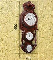 Деревянные часы с барометром и термометром (70х29 см) [Дерево]