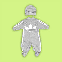 Комбинезон  и шапочка адидас для малыша  серый 100% хлопок
