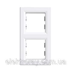 Рамка 2-местная вертикальная Schneider Asfora белая