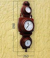 Деревянные часы с барометром и термометром (86х26 см) [Дерево]