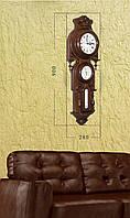 Деревянные часы с барометром и термометром (90х28 см) [Дерево]