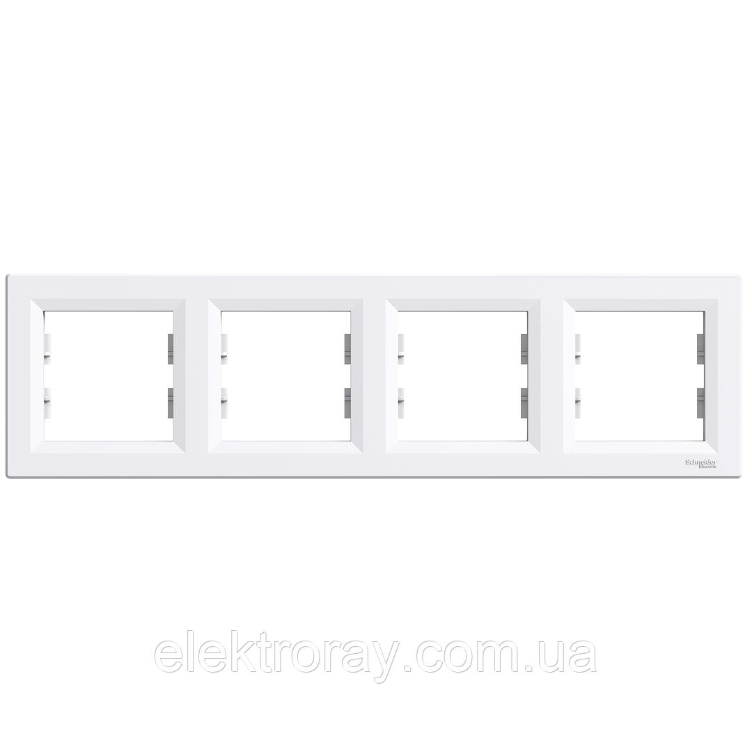Рамка 4-местная горизонтальная Schneider Asfora белая