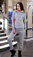 Теплый спортивный костюм серый