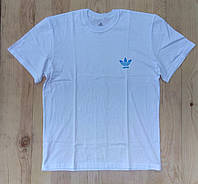 """Белая мужская футболка 100% хлопок """"Adidas"""" с логотипом  ФМ-23"""
