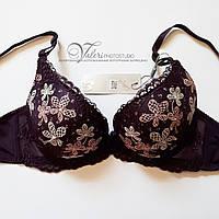 Темно-фиолетовый бюстгальтер с шикарной цветочной росписью Weiyesi 944  чашка В. Размер 70В 8baabe0b5b690