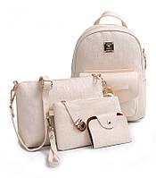 Комплект 4-в-1 Рюкзак сумка клатч визитница белый кожа PU.