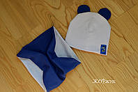 Комплект шапка и хомут для девочки с ушками на флисе осень зима