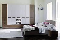 Модульный распашной шкаф коричневый с белым