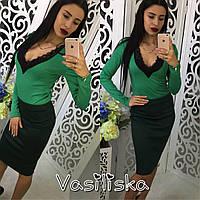 Костюм модный боди с кружевом и юбка карандаш разные цвета KV507