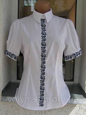 Блуза с вышивкой на планке с коротким рукавом
