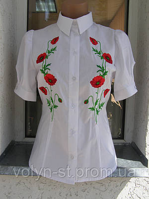 """Вышитая блуза женская """"Маки"""" с коротким рукавом"""