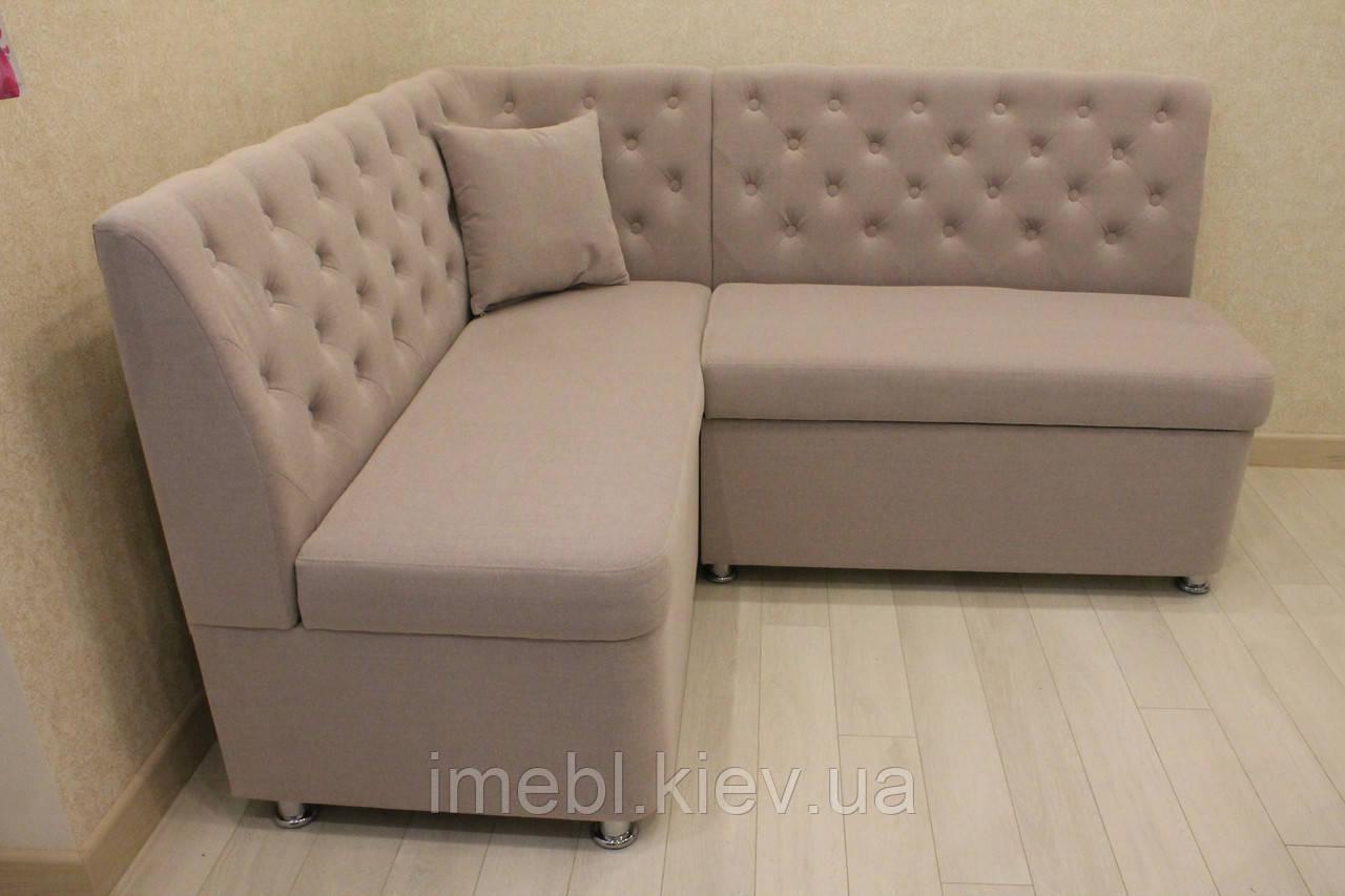 Мягкая кухонная мебель с ящиками для хранения в Киеве (Розовая ткань)