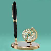 Подарочная ручка «Глобус» с кристаллами Сваровски