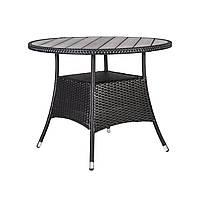 Круглый обеденный стол Savanna из искусственного ротанга Ø 95 см темно-коричневый