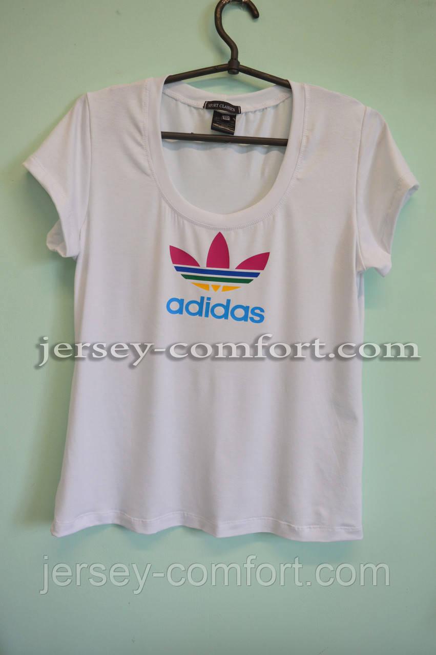 Футболка женская трикотаж с лого Adidas. Белая
