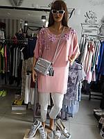 Туника женская дизайнерская розовая шифоновая  лето