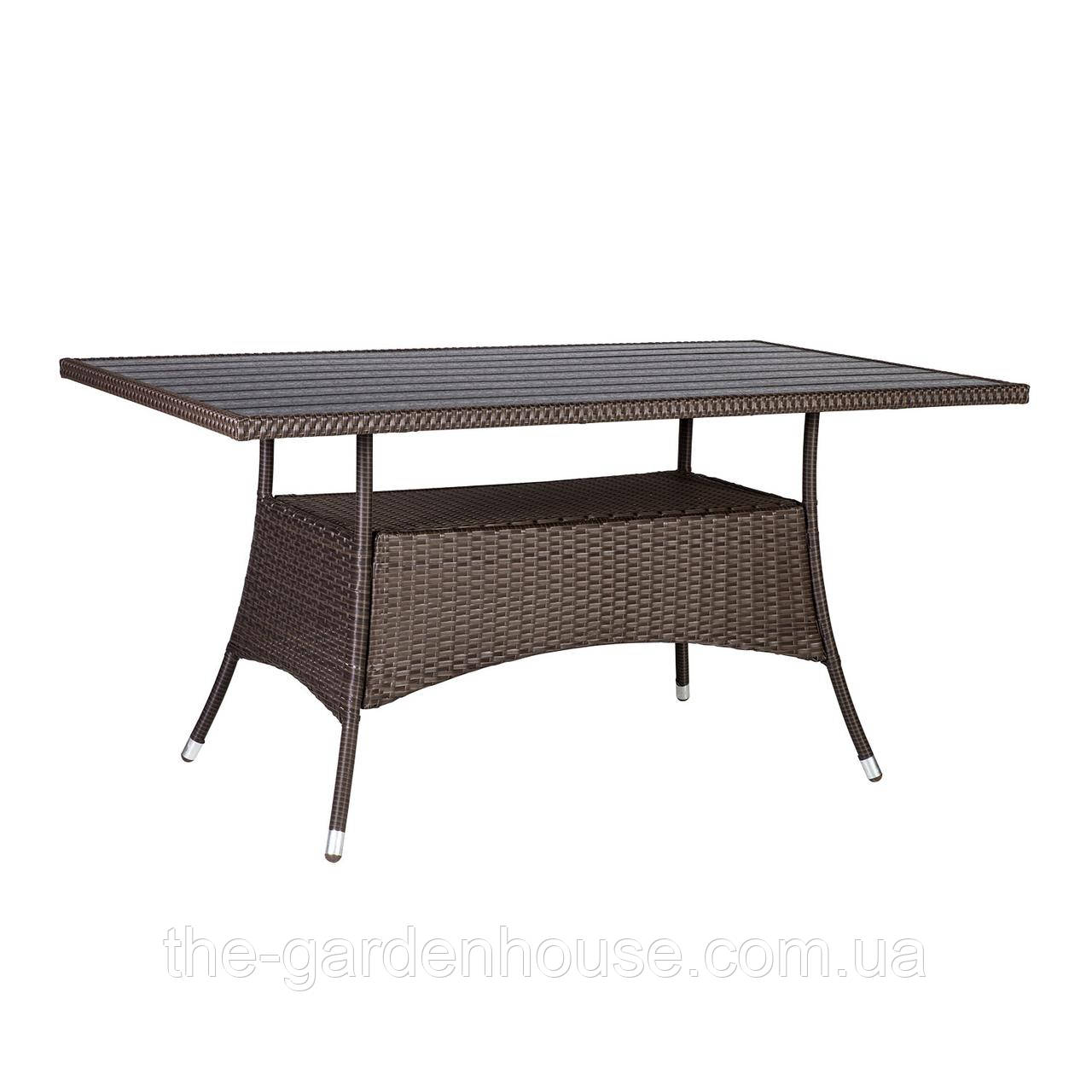 Прямоугольный  обеденный стол Savanna из искусственного ротанга 150-85 см коричневый