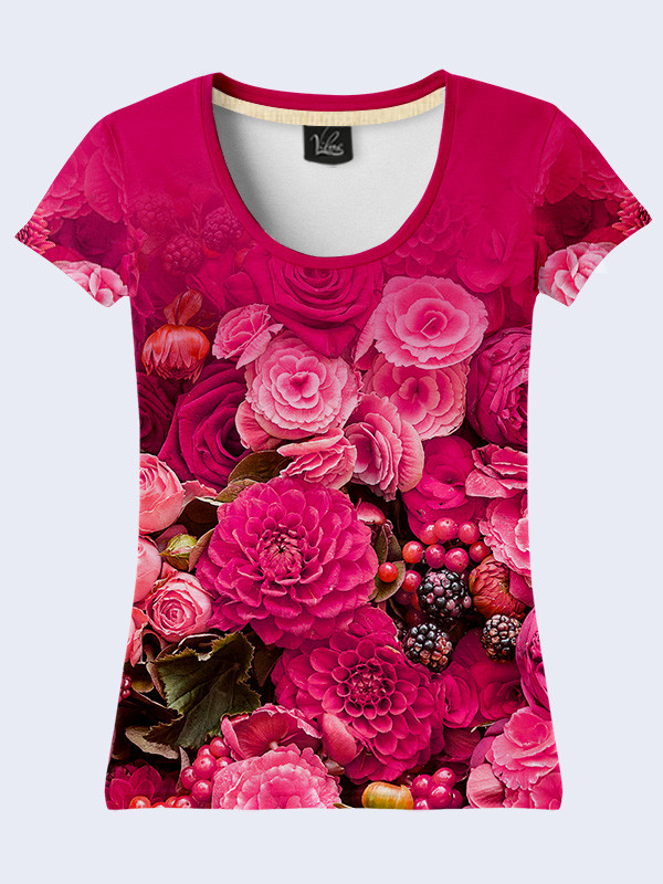Женская футболка Малиновый букет
