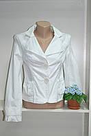 Женский стильный пиджак с длинным рукавом  белый хлопок